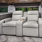 Optional 12V power theater seating with adjustable foot rests