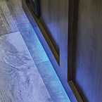 LED accent lighting at toe kick for