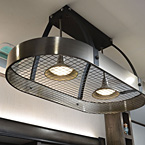Pot and pan rack style lighting in kitchen