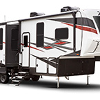 XLR Nitro Toy Hauler Fifth Wheel Exterior (321 Front 3/4 View Shown) May Show Optional Features. Features and Options Subject to Change Without Notice.
