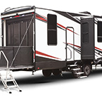 XLR Nitro Toy Hauler Fifth Wheel Exterior (321 Rear 3/4 View Shown) May Show Optional Features. Features and Options Subject to Change Without Notice.