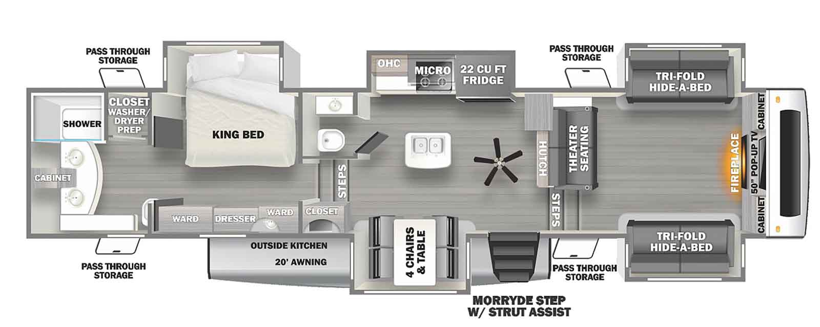 Layout For Bathroom Dimensions Rv Inverter Chinook Concourse Floor Plan Total Length 21 Feet About 1 3 Cockpit 1 3 Living 1 3 Bath And Kitchen Very Agile Pa Rv Floor