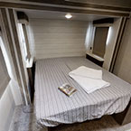 The 36VBDS bedroom has space to maneuver around the mattress and underbed storage.