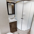 The 29VBUD bathroom features an awesome radius walk-in shower. May Show Optional Features. Features and Options Subject to Change Without Notice.