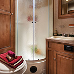 Radius Glass Door Shower (N/A on Models w/Tub Bases) May Show Optional Features. Features and Options Subject to Change Without Notice.