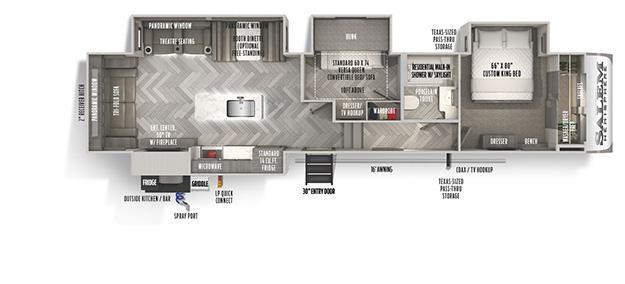 Salem hemisphere glx 356qb fifth wheels travel trailers for Fifth wheel with bonus room