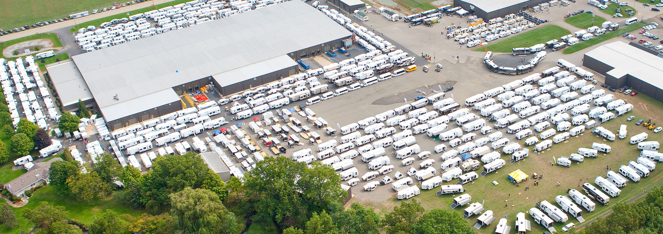 Aerial view of large recreational vehicle expo