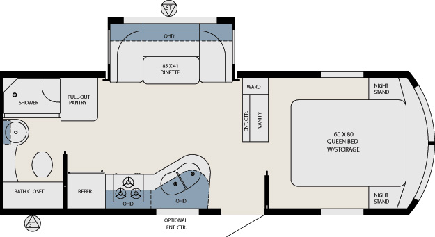 Aviator Rv Floor Plans Electra Floor Plan Jayco Travel