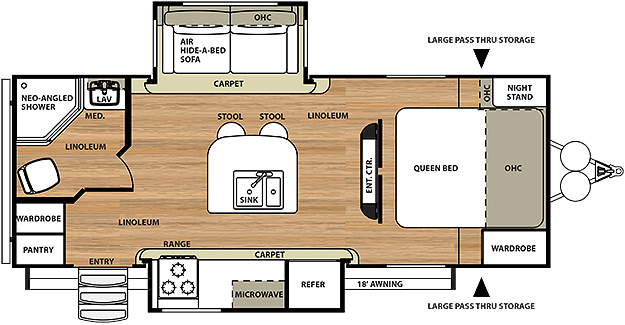 Hemisphere travel trailer by forest river for 18 foot travel trailer floor plans