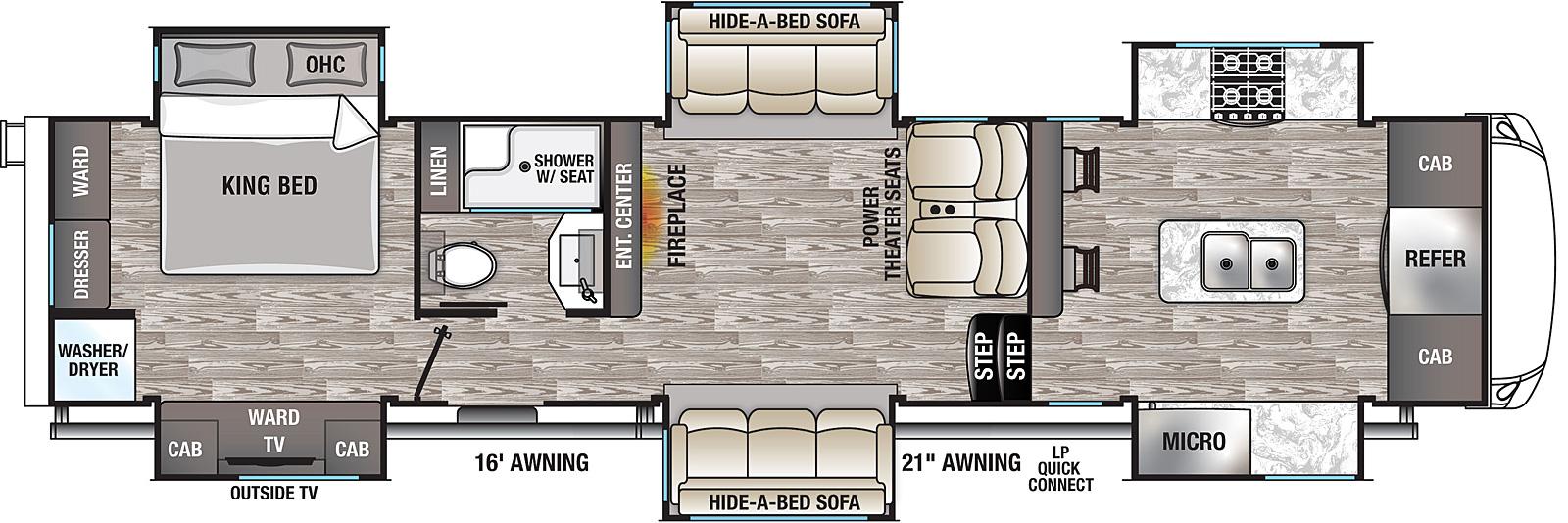 Cedar Creek Champagne 38EFK Front Kitchen Fifth Wheel Floorplan